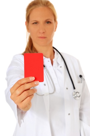 diagnoses: Doctor showing red card. All on white background.  Stock Photo