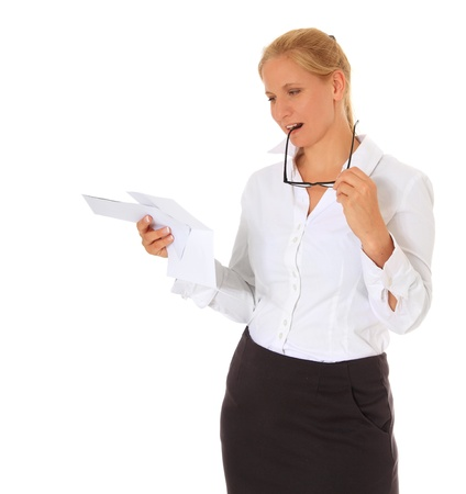 Employee reading letter. All on white background.  photo