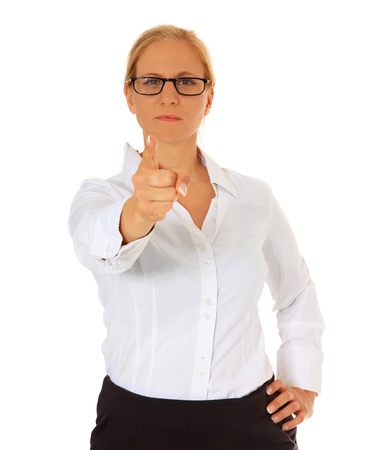 strict: Strict woman pointing with finger. All on white background.  Stock Photo