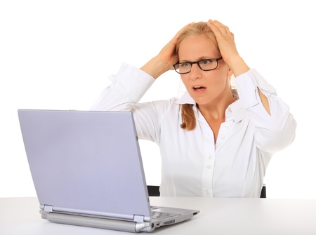 Woman got a problem with her notebook computer. All on white background.  photo