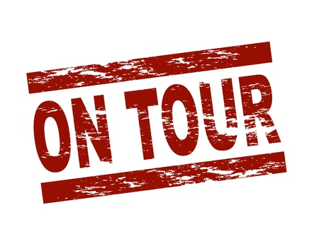 Stylized red stamp showing the term on tour. All on white background.
