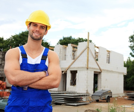 Manual worker on construction site. Stock Photo - 9781282