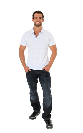 young adult men: Full length shot of an attractive young man. All on white background.
