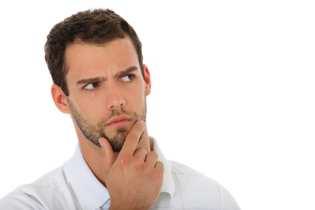 deliberate: Young guy deliberates a decision. All on white background.  Stock Photo