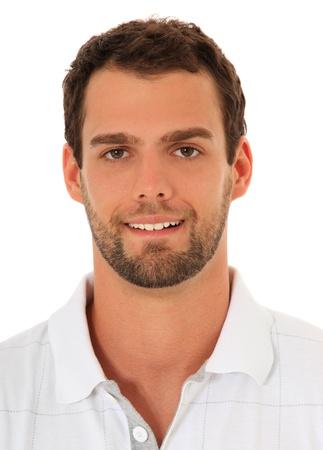 jeune mec: Portrait d'un s�duisant jeune homme. Tout sur fond blanc.