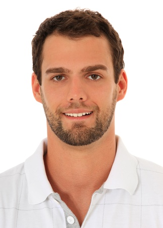 Portrait of an attractive young guy. All on white background.