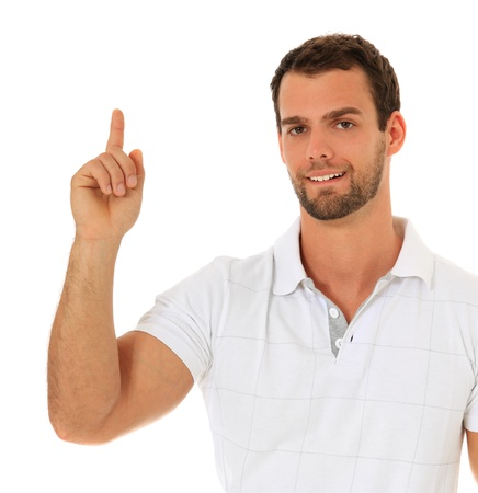 Young guy pointing with finger. All on white background.  Stock Photo - 9780668