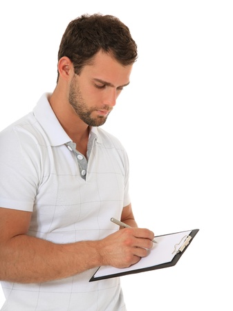 polls: Portrait of a young man writing on clipboard. All on white background.