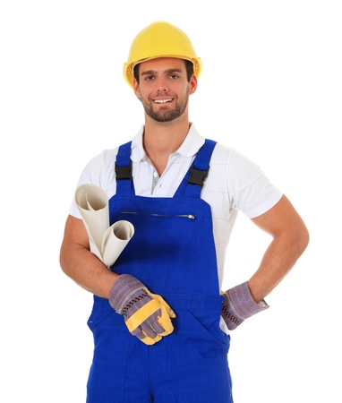 overseer: Competent construction worker. All on white background.  Stock Photo