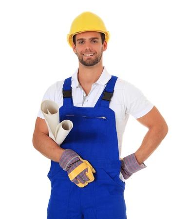 contrema�tre: Travailleur de la construction comp�tentes. Tout sur fond blanc.