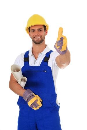 protective helmets: Operaio edile competente. Tutto su sfondo bianco.