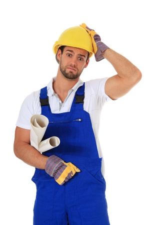 Clueless construction worker. All on white background.  photo