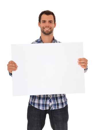 Young man holding blank sign. All on white background.  photo