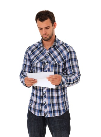 Man reading a letter. All on white background.  photo