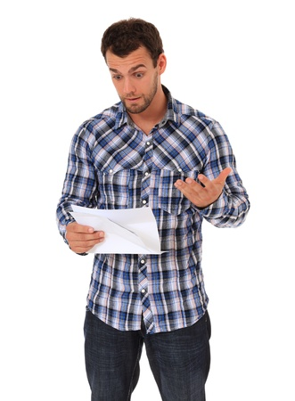 Man getting bad news. All on white background.  photo