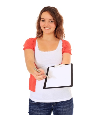 poll: Attractive young woman doing a survey. All on white background.  Stock Photo