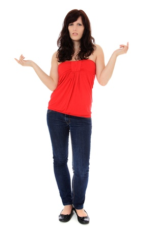 unsuspecting: Clueless young woman. All on white background.  Stock Photo