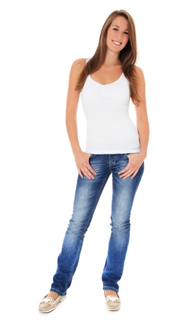 Full length shot of an attractive young woman. All on white background.  免版税图像