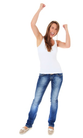 Cheering young woman. All on white background.  Stock Photo - 10160153