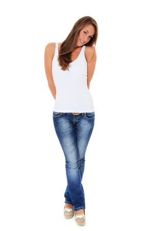 Full length shot of an attractive young woman. All on white background.  Stock Photo - 10160154