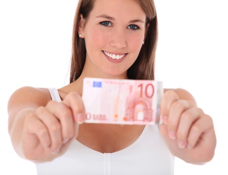Attractive young woman holding 10 Euro banknote. All on white background.  photo