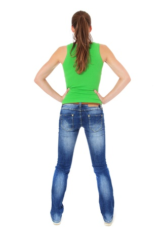 Back view of an attractive young woman. All on white background. Stock Photo - 10118718