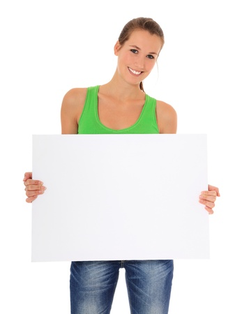 copy sapce: Attractive young woman holding blank white sign. All on white background.