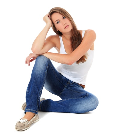 boring: Worried young woman. All on white background.  Stock Photo