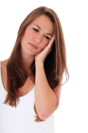 suffers: Attractive woman suffers from toothaches. All on white background.