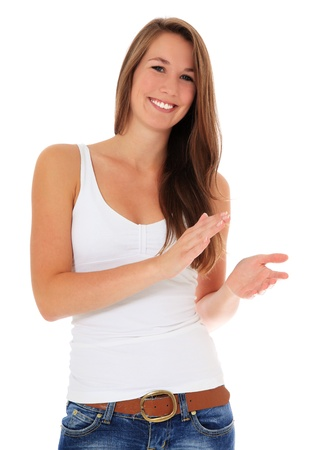 applauding: Attractive young woman clapping hands. All on white background.  Stock Photo