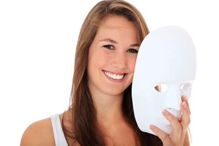 takes: Attractive young woman takes off white mask. All on white background.