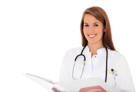 scandinavian people: Attractive doctor holding clinical record. All on white background.  Stock Photo