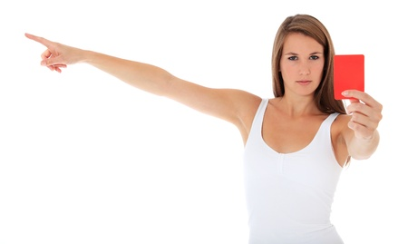 woman showing red card Stock Photo - 10118558