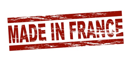 Stylized red stamp showing the term made in france. All on white background.  photo