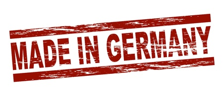 Stylized red stamp showing the term made in germany. All on white background.  photo