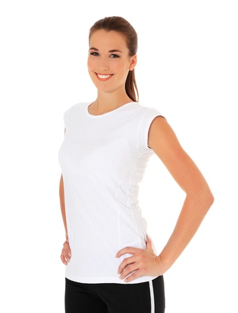 sports wear: Attractive young woman in sports wear. All on white background.