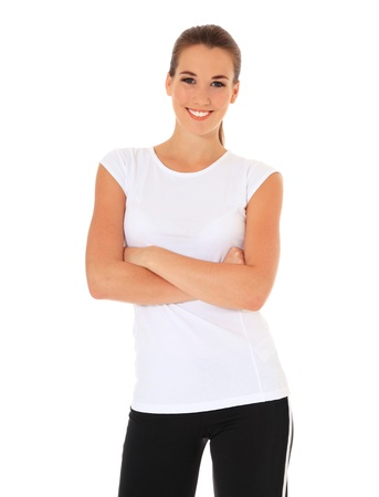 express positivity: Attractive young woman in sports wear. All on white background.