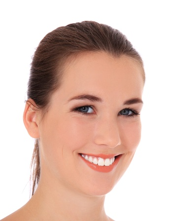 express positivity: Attractive young woman. All on white background.  Stock Photo