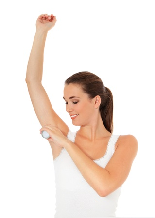 axilla: Female person using roll-on. All on white background.  Stock Photo