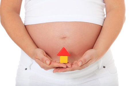 Pregnant woman holding small house. All on white background. Stock Photo - 10588497