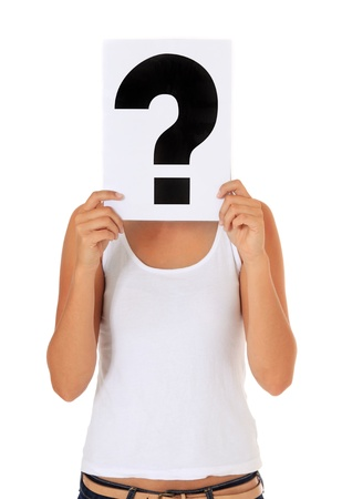 unknowing: Attractive young woman holding a sign with question mark isolated on white background.