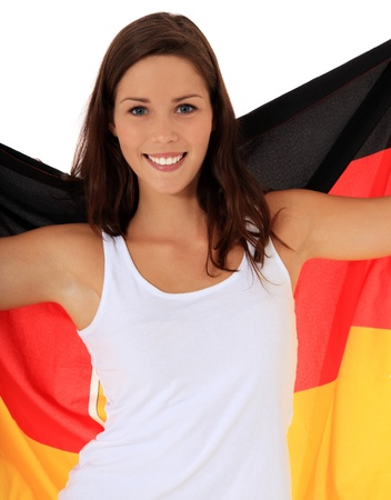 Attractive young woman cheering. All on white background. photo
