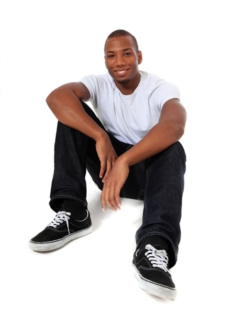 easy going: Attractive black man. All on white background.