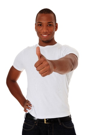 Attractive black man showing thumbs up. All on white background.  photo