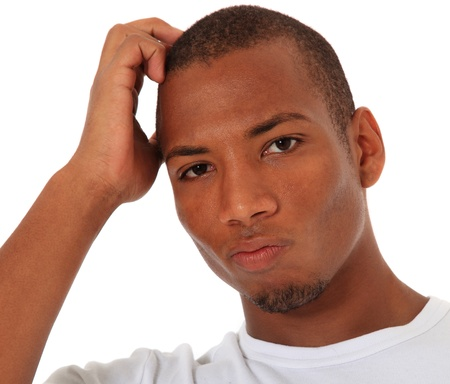 unsuspecting: Clueless black man. All on white background.  Stock Photo