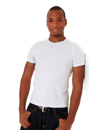 easygoing: Attractive black man leaning to wall. All on white background.