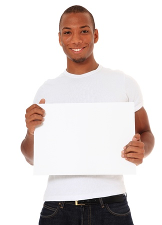 dark skinned: Attractive black holding blank white sign. All on white background.