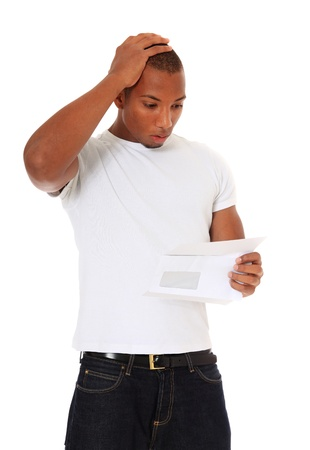 shocking: Attractive black gets shocking news. All on white background.
