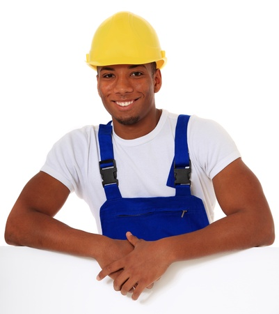 migrant: Attractive black manual worker. All on white background.  Stock Photo