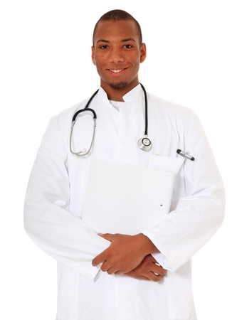 medic: Attractive black doctor. All on white background.